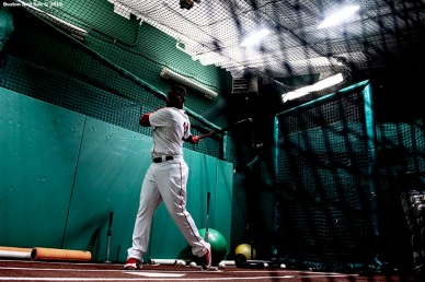 BOSTON, MA - JULY 15: Rafael Devers #11 of the Boston Red Sox takes batting practice in the cage before a game against the Toronto Blue Jays on July 15, 2019 at Fenway Park in Boston, Massachusetts. (Photo by Billie Weiss/Boston Red Sox/Getty Images) *** Local Caption *** Rafael Devers
