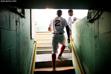 BOSTON, MA - JULY 15: Xander Bogaerts #2 of the Boston Red Sox walks out of the tunnel before a game against the Toronto Blue Jays on July 15, 2019 at Fenway Park in Boston, Massachusetts. (Photo by Billie Weiss/Boston Red Sox/Getty Images) *** Local Caption *** Xander Bogaerts