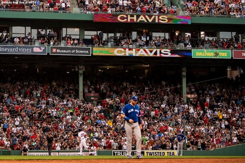 BOSTON, MA - JULY 15: Michael Chavis #23 of the Boston Red Sox rounds the bases after hitting a grand slam home run during the first inning of a game against the Toronto Blue Jays on July 15, 2019 at Fenway Park in Boston, Massachusetts. (Photo by Billie Weiss/Boston Red Sox/Getty Images) *** Local Caption *** Michael Chavis