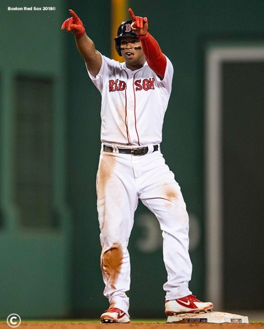 BOSTON, MA - JULY 15: Rafael Devers #11 of the Boston Red Sox reacts after hitting a double during the fifth inning of a game against the Toronto Blue Jays on July 15, 2019 at Fenway Park in Boston, Massachusetts. (Photo by Billie Weiss/Boston Red Sox/Getty Images) *** Local Caption *** Rafael Devers