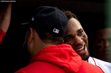 BOSTON, MA - JULY 16: Xander Bogaerts #2 of the Boston Red Sox reacts with Eduardo Rodriguez #57 after hitting a solo home run during the first inning of a game against the Toronto Blue Jays on July 16, 2019 at Fenway Park in Boston, Massachusetts. (Photo by Billie Weiss/Boston Red Sox/Getty Images) *** Local Caption *** Xander Bogaerts; Eduardo Rodriguez