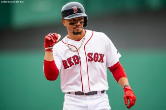 BOSTON, MA - JULY 18: Mookie Betts #50 of the Boston Red Sox reacts after hitting a single during the first inning of a game against the Toronto Blue Jays on July 18, 2019 at Fenway Park in Boston, Massachusetts. (Photo by Billie Weiss/Boston Red Sox/Getty Images) *** Local Caption *** Mookie Betts