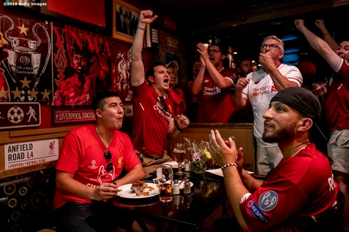 CAMBRIDGE, MA - JULY 19: Fans attend a Liverpool Football Club watch party at The Phoenix Landing on July 19, 2019 in Cambridge, Massachusetts. (Photo by Billie Weiss/Boston Red Sox/Getty Images) *** Local Caption ***