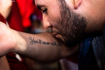 BOSTON, MA - JULY 21: A fan of Liverpool kisses his tattoo before a pre-season friendly match against Sevilla F.C. on July 21, 2019 at Fenway Park in Boston, Massachusetts. (Photo by Billie Weiss/Boston Red Sox/Getty Images) *** Local Caption ***