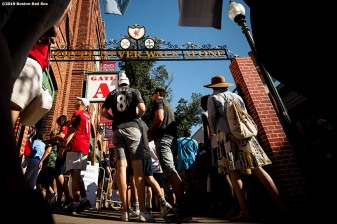 BOSTON, MA - JULY 21: Fans enter the ballpark before a pre-season friendly match between Liverpool and Sevilla F.C. on July 21, 2019 at Fenway Park in Boston, Massachusetts. (Photo by Billie Weiss/Boston Red Sox/Getty Images) *** Local Caption ***