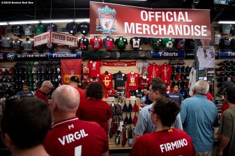 BOSTON, MA - JULY 21: Fans purchase merchandise before a pre-season friendly match between Liverpool and Sevilla F.C. on July 21, 2019 at Fenway Park in Boston, Massachusetts. (Photo by Billie Weiss/Boston Red Sox/Getty Images) *** Local Caption ***