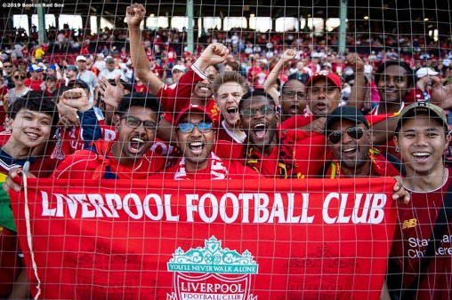 BOSTON, MA - JULY 21: Fans of Liverpool cheer before a pre-season friendly match against Sevilla F.C. on July 21, 2019 at Fenway Park in Boston, Massachusetts. (Photo by Billie Weiss/Boston Red Sox/Getty Images) *** Local Caption ***