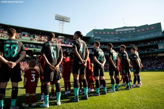 BOSTON, MA - JULY 21: Members of Liverpool are introduced before a pre-season friendly match against Sevilla F.C. on July 21, 2019 at Fenway Park in Boston, Massachusetts. (Photo by Billie Weiss/Boston Red Sox/Getty Images) *** Local Caption ***