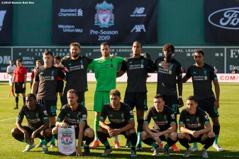BOSTON, MA - JULY 21: Members of Liverpool pose for a team photograph before a pre-season friendly match against Sevilla F.C. on July 21, 2019 at Fenway Park in Boston, Massachusetts. (Photo by Billie Weiss/Boston Red Sox/Getty Images) *** Local Caption ***