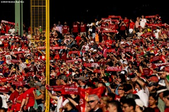 BOSTON, MA - JULY 21: Fans of Liverpool cheer during a pre-season friendly match against Sevilla F.C. on July 21, 2019 at Fenway Park in Boston, Massachusetts. (Photo by Billie Weiss/Boston Red Sox/Getty Images) *** Local Caption ***