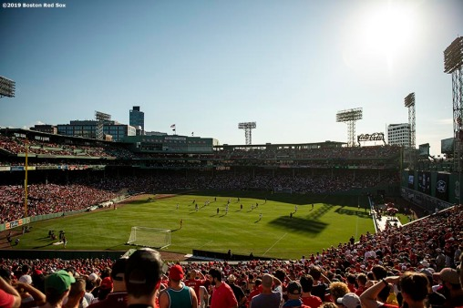 BOSTON, MA - JULY 21: A general view during the first half of a pre-season friendly match between Liverpool and Sevilla F.C. on July 21, 2019 at Fenway Park in Boston, Massachusetts. (Photo by Billie Weiss/Boston Red Sox/Getty Images) *** Local Caption ***