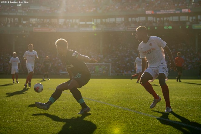 BOSTON, MA - JULY 21: Game action during the first half of a pre-season friendly match between Liverpool and Sevilla F.C. on July 21, 2019 at Fenway Park in Boston, Massachusetts. (Photo by Billie Weiss/Boston Red Sox/Getty Images) *** Local Caption ***