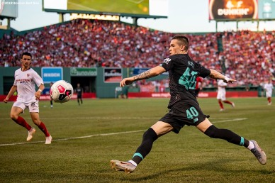 BOSTON, MA - JULY 21: Ryan Kent #40 of Liverpool handles the ball during the second half of a pre-season friendly match against Sevilla F.C. on July 21, 2019 at Fenway Park in Boston, Massachusetts. (Photo by Billie Weiss/Boston Red Sox/Getty Images) *** Local Caption *** Ryan Kent