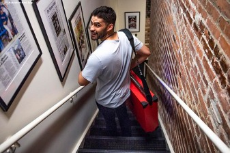 BOSTON, MA - JULY 25: J.D. Martinez #28 of the Boston Red Sox carries a speaker before a game against the New York Yankees on July 25, 2019 at Fenway Park in Boston, Massachusetts. (Photo by Billie Weiss/Boston Red Sox/Getty Images) *** Local Caption *** J.D. Martinez