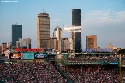 BOSTON, MA - JULY 26: The Samuel Adams deck and city skyline are shown during a game between the Boston Red Sox and the New York Yankees on July 26, 2019 at Fenway Park in Boston, Massachusetts. (Photo by Billie Weiss/Boston Red Sox/Getty Images) *** Local Caption ***