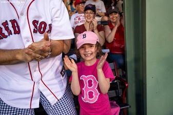 BOSTON, MA - JULY 26: A young fan cheers during a game between the Boston Red Sox and the New York Yankees on July 26, 2019 at Fenway Park in Boston, Massachusetts. (Photo by Billie Weiss/Boston Red Sox/Getty Images) *** Local Caption ***