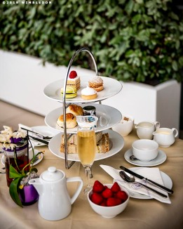 July 6, 2019 , Wimbledon, England: Afternoon Tea setup is displayed during the 2019 Championships Wimbledon at the All England Lawn Tennis Club in Wimbledon, England Saturday, July 6, 2019. (Photo by Billie Weiss/Wimbledon)