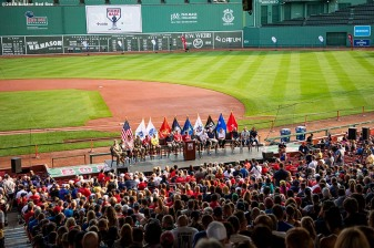 July 27, 2019 , Boston, MA: Boston Red Sox Chairman Tom Werner speaks during the 2019 Run to Home Base presented by New Balance at Fenway Park in Boston, Massachusetts Saturday, July 27, 2019. (Photo by Billie Weiss/Home Base)