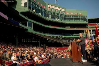 July 27, 2019 , Boston, MA: Brigadier General Jack Hammond of Home Base speaks during the 2019 Run to Home Base presented by New Balance at Fenway Park in Boston, Massachusetts Saturday, July 27, 2019. (Photo by Billie Weiss/Home Base)