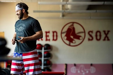 BOSTON, MA - JULY 28: Mitch Moreland #18 of the Boston Red Sox reacts in the weight room before a game against the New York Yankees on July 28, 2019 at Fenway Park in Boston, Massachusetts. (Photo by Billie Weiss/Boston Red Sox/Getty Images) *** Local Caption *** Mitch Moreland