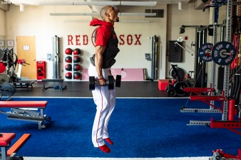 BOSTON, MA - JULY 28: Mookie Betts #50 of the Boston Red Sox lifts weights in the weight room before a game against the New York Yankees on July 28, 2019 at Fenway Park in Boston, Massachusetts. (Photo by Billie Weiss/Boston Red Sox/Getty Images) *** Local Caption *** Mookie Betts