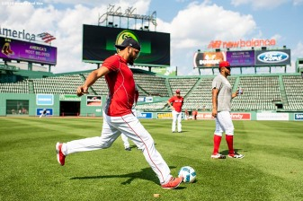 BOSTON, MA - JULY 28: Eduardo Rodriguez #57 of the Boston Red Sox kicks a soccer ball before a game against the New York Yankees on July 28, 2019 at Fenway Park in Boston, Massachusetts. (Photo by Billie Weiss/Boston Red Sox/Getty Images) *** Local Caption *** Eduardo Rodriguez