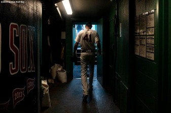 BOSTON, MA - JULY 28: Chris Sale #41 of the Boston Red Sox walks out of the tunnel before a game against the New York Yankees on July 28, 2019 at Fenway Park in Boston, Massachusetts. (Photo by Billie Weiss/Boston Red Sox/Getty Images) *** Local Caption *** Chris Sale