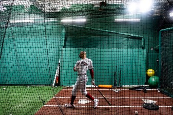 BOSTON, MA - JULY 28: Mookie Betts #50 of the Boston Red Sox takes batting practice in the cage before a game against the New York Yankees on July 28, 2019 at Fenway Park in Boston, Massachusetts. (Photo by Billie Weiss/Boston Red Sox/Getty Images) *** Local Caption *** Mookie Betts