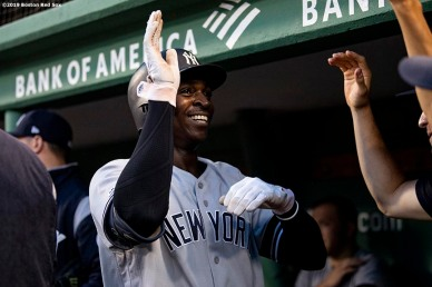 BOSTON, MA - JULY 28: Didi Gregorius #18 of the New York Yankees reacts after hitting a two run home run during the fourth inning of a game against the Boston Red Sox on July 28, 2019 at Fenway Park in Boston, Massachusetts. (Photo by Billie Weiss/Boston Red Sox/Getty Images) *** Local Caption *** Didi Gregorius