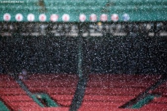BOSTON, MA - JULY 31: Rain falls before a game between the Boston Red Sox and the Tampa Bay Rays on July 31, 2019 at Fenway Park in Boston, Massachusetts. (Photo by Billie Weiss/Boston Red Sox/Getty Images) *** Local Caption ***