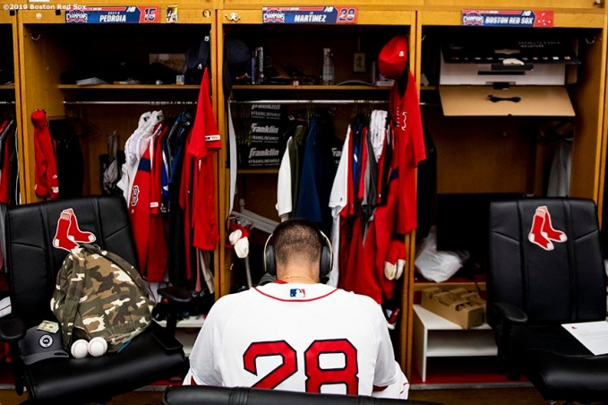 BOSTON, MA - JULY 31: J.D. Martinez #28 of the Boston Red Sox sits at his locker before a game against the Tampa Bay Rays on July 31, 2019 at Fenway Park in Boston, Massachusetts. (Photo by Billie Weiss/Boston Red Sox/Getty Images) *** Local Caption *** J.D. Martinez