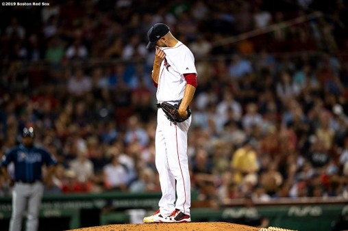 BOSTON, MA - JULY 31: Rick Porcello #22 of the Boston Red Sox reacts after allowing a home run during the sixth inning of a game against the Tampa Bay Rays on July 31, 2019 at Fenway Park in Boston, Massachusetts. (Photo by Billie Weiss/Boston Red Sox/Getty Images) *** Local Caption *** Rick Porcello