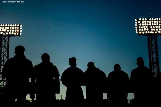 BOSTON, MA - AUGUST 1: Members of the Boston Red Sox look on before a game against the Tampa Bay Rays on August 1, 2019 at Fenway Park in Boston, Massachusetts. (Photo by Billie Weiss/Boston Red Sox/Getty Images) *** Local Caption ***