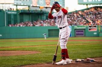 BOSTON, MA - AUGUST 1: Mookie Betts #50 of the Boston Red Sox reacts during the first inning of a game against the Tampa Bay Rays on August 1, 2019 at Fenway Park in Boston, Massachusetts. (Photo by Billie Weiss/Boston Red Sox/Getty Images) *** Local Caption *** Mookie Betts