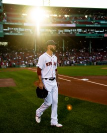 BOSTON, MA - AUGUST 5: Rick Porcello #22 of the Boston Red Sox walks onto the field before a game against the Kansas City Royals on August 5, 2019 at Fenway Park in Boston, Massachusetts. (Photo by Billie Weiss/Boston Red Sox/Getty Images) *** Local Caption *** Rick Porcello