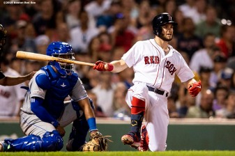 BOSTON, MA - AUGUST 5: Andrew Benintendi #16 of the Boston Red Sox hits an RBI double during the seventh inning of a game against the Kansas City Royals on August 5, 2019 at Fenway Park in Boston, Massachusetts. (Photo by Billie Weiss/Boston Red Sox/Getty Images) *** Local Caption *** Andrew Benintendi