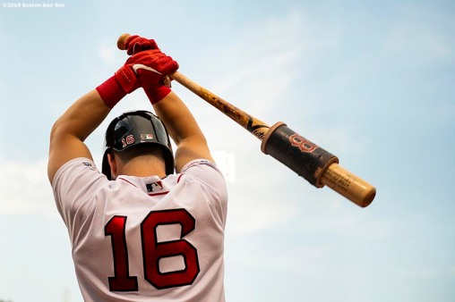 BOSTON, MA - AUGUST 5: Andrew Benintendi #16 of the Boston Red Sox warms up on deck during the first inning of a game against the Kansas City Royals on August 6, 2019 at Fenway Park in Boston, Massachusetts. (Photo by Billie Weiss/Boston Red Sox/Getty Images) *** Local Caption *** Andrew Benintendi