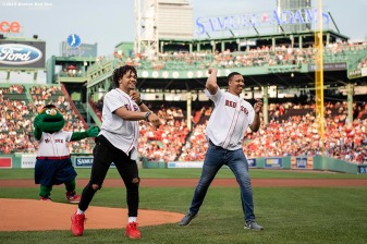 BOSTON, MA - AUGUST 5: Carsen Edwards #4 and Grant Williams #40 of the Boston Celtics they throw out a ceremonial first pitch before a game between the Boston Red Sox the Kansas City Royals on August 6, 2019 at Fenway Park in Boston, Massachusetts. (Photo by Billie Weiss/Boston Red Sox/Getty Images) *** Local Caption *** Carsen Edwards; Grant Williams