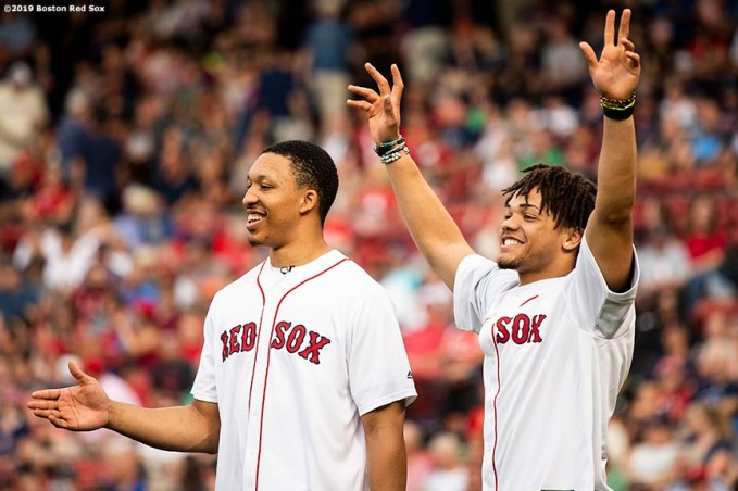 BOSTON, MA - AUGUST 5: Grant Williams #40 and Carsen Edwards #4 of the Boston Celtics react before they throw out a ceremonial first pitch before a game between the Boston Red Sox the Kansas City Royals on August 6, 2019 at Fenway Park in Boston, Massachusetts. (Photo by Billie Weiss/Boston Red Sox/Getty Images) *** Local Caption *** Carsen Edwards; Grant Williams