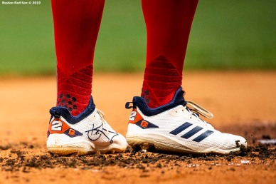 BOSTON, MA - AUGUST 7: The shoes of Xander Bogaerts #2 of the Boston Red Sox are shown during the first inning of a game against the Kansas City Royals on August 7, 2019 at Fenway Park in Boston, Massachusetts. (Photo by Billie Weiss/Boston Red Sox/Getty Images) *** Local Caption *** Xander Bogaerts