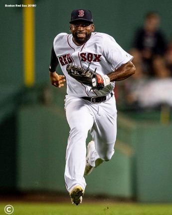 BOSTON, MA - AUGUST 7: Jackie Bradley Jr. #19 of the Boston Red Sox reacts as he runs toward the dugout during the fourth inning of a game against the Kansas City Royals on August 7, 2019 at Fenway Park in Boston, Massachusetts. (Photo by Billie Weiss/Boston Red Sox/Getty Images) *** Local Caption *** Jackie Bradley Jr.