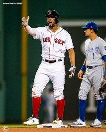 BOSTON, MA - AUGUST 7: Xander Bogaerts #2 of the Boston Red Sox reacts a go ahead RBI double during the fifth inning of a game against the Kansas City Royals on August 7, 2019 at Fenway Park in Boston, Massachusetts. (Photo by Billie Weiss/Boston Red Sox/Getty Images) *** Local Caption *** Xander Bogaerts