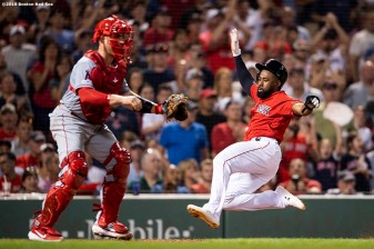 BOSTON, MA - AUGUST 9: Jackie Bradley Jr. #19 of the Boston Red Sox slides as he scores during the sixth inning of a game against the Los Angeles Angels of Anaheim on August 9, 2019 at Fenway Park in Boston, Massachusetts. (Photo by Billie Weiss/Boston Red Sox/Getty Images) *** Local Caption *** Jackie Bradley Jr.