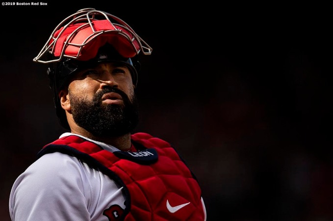BOSTON, MA - AUGUST 10: Sandy Leon #3 of the Boston Red Sox looks on during the first inning of a game against the Los Angeles Angels of Anaheim on August 10, 2019 at Fenway Park in Boston, Massachusetts. (Photo by Billie Weiss/Boston Red Sox/Getty Images) *** Local Caption *** Sandy Leon