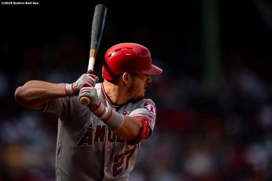 BOSTON, MA - AUGUST 10: Mike Trout #27 of the Los Angeles Angels of Anaheim bats during the first inning of a game against the Boston Red Sox on August 10, 2019 at Fenway Park in Boston, Massachusetts. (Photo by Billie Weiss/Boston Red Sox/Getty Images) *** Local Caption *** Mike Trout