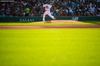 BOSTON, MA - AUGUST 10: Rick Porcello #22 of the Boston Red Sox delivers during the fifth inning of a game against the Los Angeles Angels of Anaheim on August 10, 2019 at Fenway Park in Boston, Massachusetts. (Photo by Billie Weiss/Boston Red Sox/Getty Images) *** Local Caption *** Rick Porcello