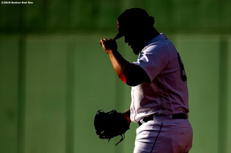 BOSTON, MA - AUGUST 10: Darwinzon Hernandez #63 of the Boston Red Sox exits the bullpen during the sixth inning of a game against the Los Angeles Angels of Anaheim on August 10, 2019 at Fenway Park in Boston, Massachusetts. (Photo by Billie Weiss/Boston Red Sox/Getty Images) *** Local Caption *** Darwinzon Hernandez