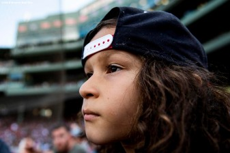 BOSTON, MA - AUGUST 11: A young fan looks on during a game between the Boston Red Sox and the Los Angeles Angels of Anaheim on August 11, 2019 at Fenway Park in Boston, Massachusetts. (Photo by Billie Weiss/Boston Red Sox/Getty Images) *** Local Caption ***