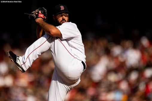 BOSTON, MA - AUGUST 11: Brandon Workman #44 of the Boston Red Sox delivers during the tenth inning of a game against the Los Angeles Angels of Anaheim on August 11, 2019 at Fenway Park in Boston, Massachusetts. (Photo by Billie Weiss/Boston Red Sox/Getty Images) *** Local Caption *** Brandon Workman
