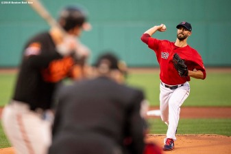 BOSTON, MA - AUGUST 16: Rick Porcello #22 of the Boston Red Sox delivers during the first inning of a game against the Baltimore Orioles on August 16, 2019 at Fenway Park in Boston, Massachusetts. (Photo by Billie Weiss/Boston Red Sox/Getty Images) *** Local Caption *** Rick Porcello